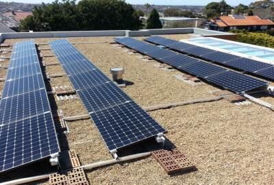 Solar Ballast System on Flat Roof